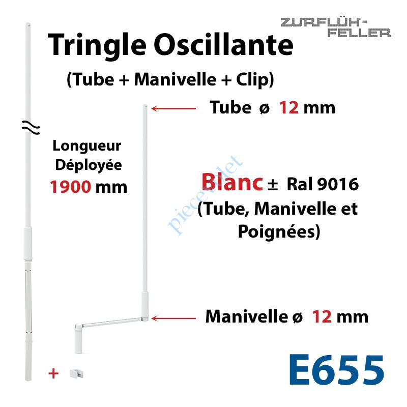E655 Tringle Oscillante Lg 1900 Blanche avec  Manivelle