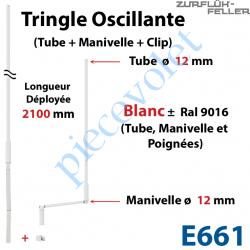 E661 Tringle Oscillante Lg 2100 Blanche avec  Manivelle