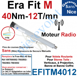 EFITM4012 Moteur Nice Radio Era Fit M 40/12 Av FdC Electro & Fréquence 433,92MHz Rolling Code M 50 sans Mds