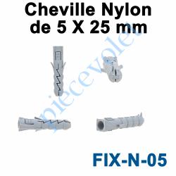 FIX-N-05 Cheville Nylon Sans Collerette 5 x 25 mm pour Fixation dans Matériau Plein