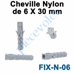 FIX-N-06 Cheville Nylon Sans Collerette 6 x 30 mm pour Fixation dans Matériau Plein