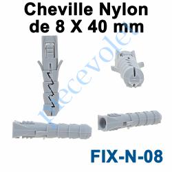 FIX-N-08 Cheville Nylon Sans Collerette 8 x 40 mm pour Fixation dans Matériau Plein