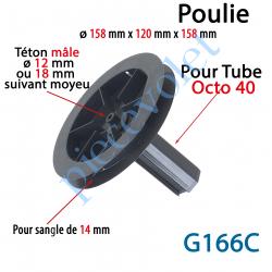 G166C Poulie ø 158 pr Sangle 14 & Embout Octo 40 Av Téton Mâle ø12 ou 18 mm suiv Moyeu