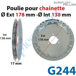 G244 Poulie ø 180 pour Chaînette au pas de 13 mm se monte sur embouts A296, A297, A292 ou G279