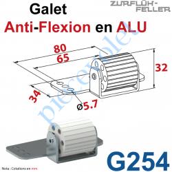 G254 Galet Anti-Flexion en Elastomère Bâti en Aluminium Brut