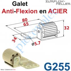 G255 Galet Anti-Flexion en Elastomère Bâti en Acier Zingué