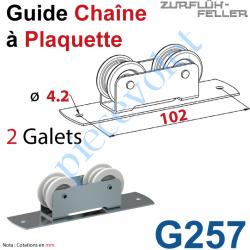 G257 Guide Chaîne Monté sur Plaquette Plate en Acier Zingué à 2 Galets Polyamide
