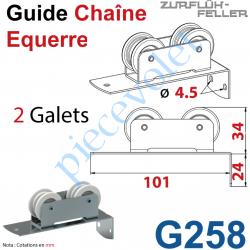 G258 Guide Chaîne Monté sur Plaquette pliée à l'équerre en Acier Zingué à 2 Galets Polyamide