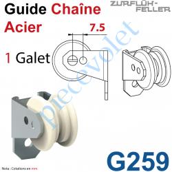 G259 Guide Chaîne Monté sur Plaquette pliée à l'équerre en Acier Nickelé à 1 Galet Polyamide