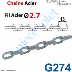 G274 Chaînette en Acier Zingué Pas 13 mm Fil ø 27/10