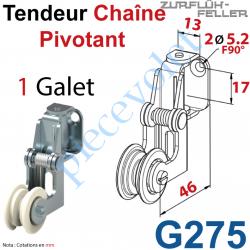 G275 Tendeur de Chaîne Pivotant en Acier Nickelé à 1 Galet Polyamide
