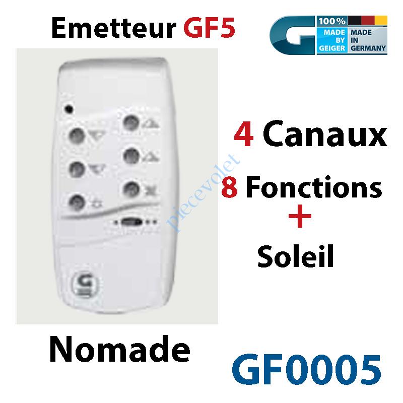 GF0005 Emetteur Nomade GF 5 Blanc  (4 Can 8 Fonc + Soleil) peut être Fixé av Sup GF0019