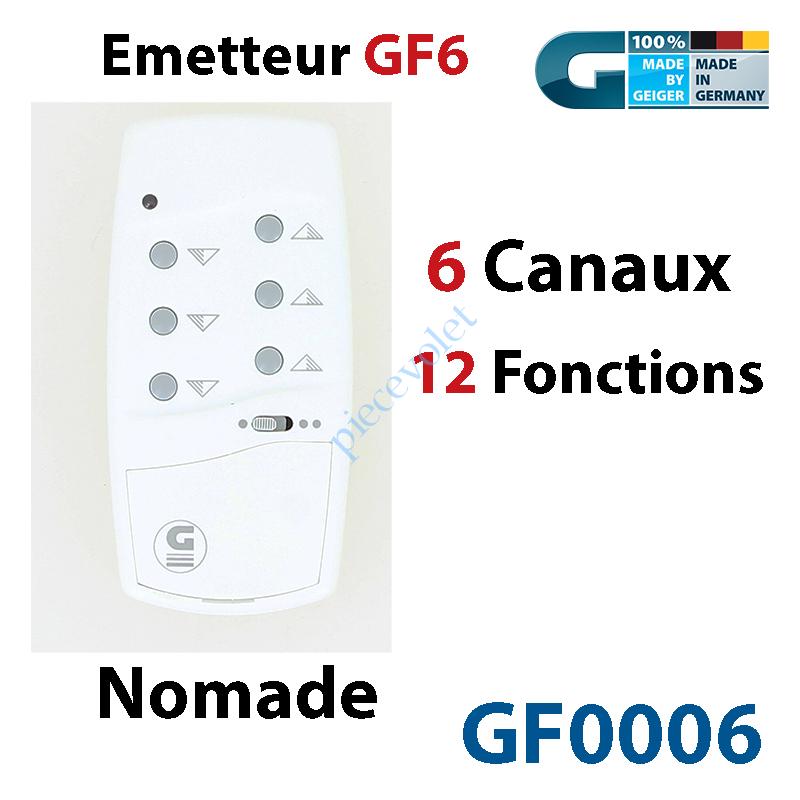 GF0006 Emetteur Nomade GF 6 Blanc  (6 Canaux 12 Fonctions) peut être Fixé av Sup GF0019
