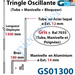 GS01300 Tringle Oscillante Alu-Acier Gris ± Ral 7035 Long Totale 1300 Bras Manivelle Long 180 mm Tige ø12