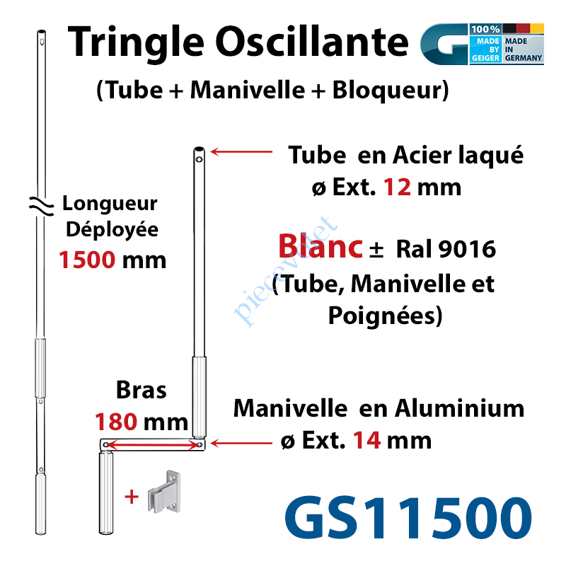 GS11500 Tringle Oscillante Alu-Acier Blanc ± Ral 9016 Long Totale 1500 Bras Manivelle Long 180 mm Tige ø12