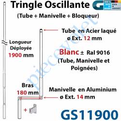 GS11900 Tringle Oscillante Alu-Acier Blanc ± Ral 9016 Long Totale 1900 Bras Manivelle Long 180 mm Tige ø12