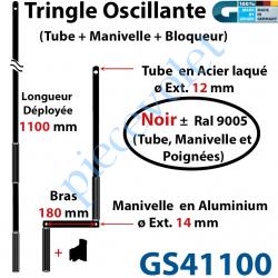 GS41100 Tringle Oscillante Alu-Acier Noir ± Ral 9005 Long Totale 1100 Bras Manivelle Long 180 mm Tige ø12