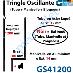 GS41200 Tringle Oscillante Alu-Acier Noir ± Ral 9005 Long Totale 1200 Bras Manivelle Long 180 mm Tige ø12