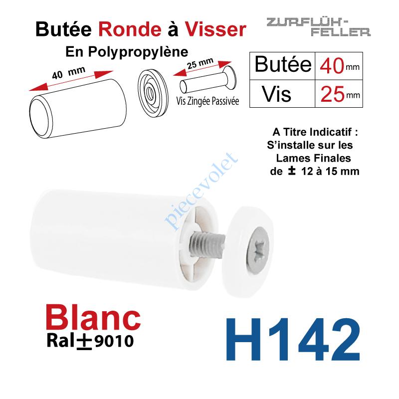H142 Butée Ronde Coloris Blanc à Visser sur Lame Finale Longueur 40 mm Avec Rondelle et Vis Zinguée Lg 25mm
