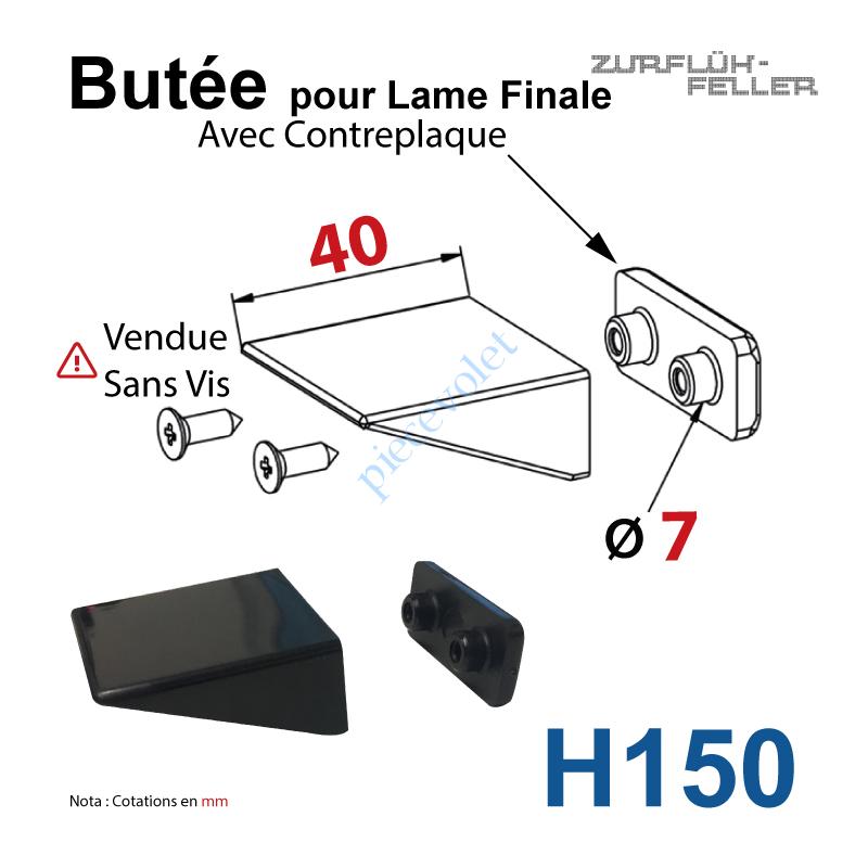 H150 Butée Equerre pour Lame Finale + Contreplaque Noire Sans Vis