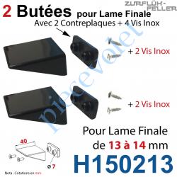H150213 Sac de 2 Butées Equerres + Contreplaques Noires Av Vis Inox pr Lame Finale 13-14