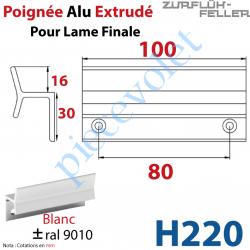 H220 Poignée Alu Extrudé Ep 3 pr Lame Finale