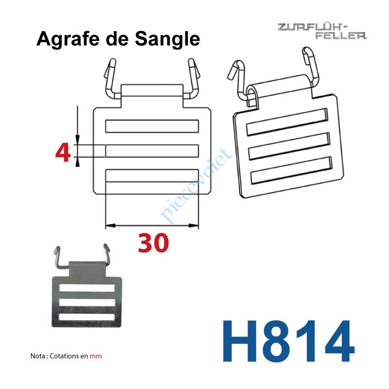 H814 Agrafe de Sangle Réglable en Acier Zingué Bichromaté Crochet en Inox pour Tubes d'enroulement Zf