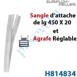 H814834 Agrafe de Sangle Réglable en Acier Zingué Bichromaté Crochet en Inox pour Tubes d'enroulement Zf + Sangle d'attache l 20