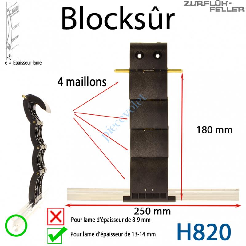 H820 Verrou Automatique Blocksûr de 4 Maillons pour Lame 13-14 mm d'épaisseur