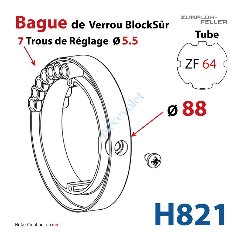 H821 Bague de Verrou Automatique Blocksûr pr tube ZF 64 ø Ext 88 mm Av 1 Vis 4,2x12,7