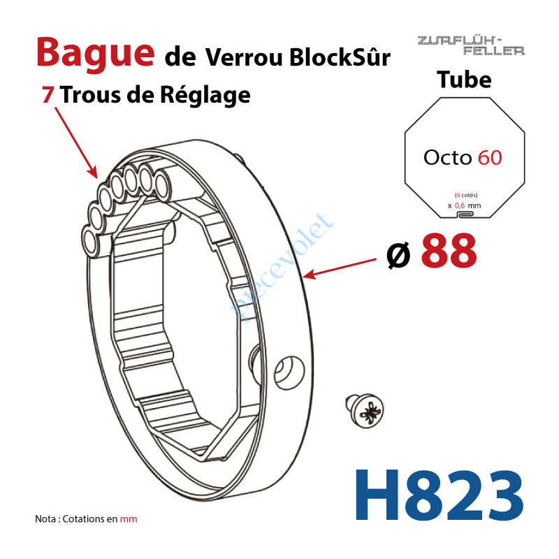 H823 Bague de Verrou Automatique Blocksûr pr tube Octo 60 ø Ext 88mm Av1 Vis 4,2x12,7