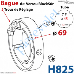 H825 Bague de Verrou Automatique Blocksûr pr tube ZF 45 ø Ext 69 mm Av 1 Vis 4,2x12,7