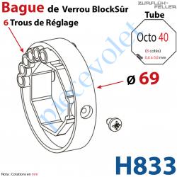 H833 Bague de Verrou Automatique Blocksûr pr tube Octo 40 øExt 69 mm Av1 Vis 4,2x12,7