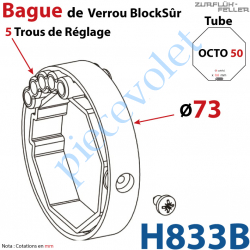 H833B Bague de Verrou Automatique Blocksûr pr tube Octo 52 øExt 73 mm Av1 Vis 4,2x12,7