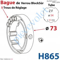 H865 Bague de Verrou Automatique Blocksûr pour tube ZF 54 ø Ext 73mm Av 1 Vis 4,2x9,5