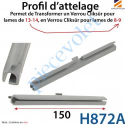 H872A Profil d'Attelage Tablier Lg 150mm Permet de transformer un Clicksûr pour Lame de 13-14 mm en Clicksûr pour Lame 8-9 mm d'