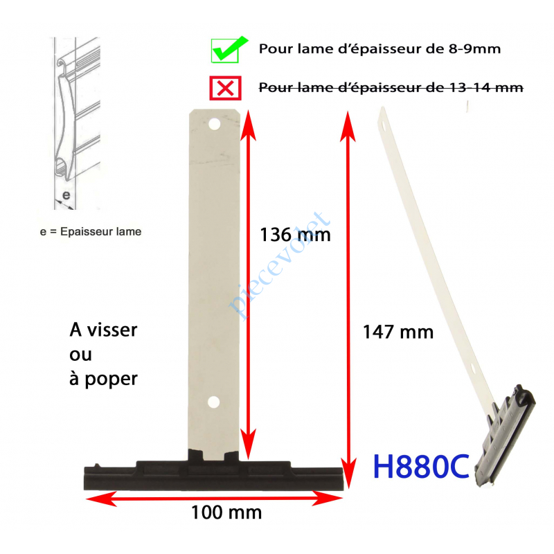 H880C Attache Tablier Noire Longueur 142 mm à Visser pour Lame 8-9 mm d'épaisseur