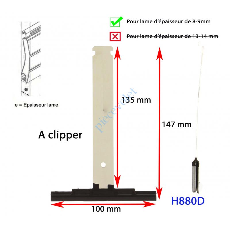 H880D Attache Tablier Noire Lg 142 mm à Clipper sur Tube Zf pr Lame 8-9 mm d'épaisseur