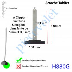 H880G Attache Tablier Noire Longueur 142 mm à Clipper Fente 5x8 sur Tube Octo pour Lame 8-9 mm