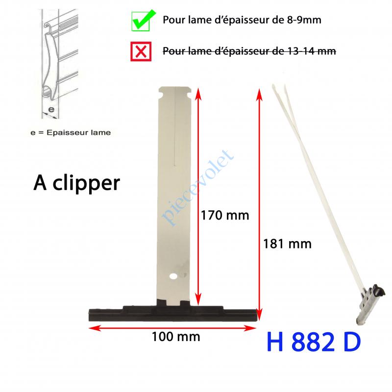 H882D Attache Tablier Noire Lg 175 mm à Clipper sur Tube Zf pour Lame 8-9 mm d'épaisseur