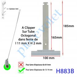 H883B Attache Tablier Grise Longueur 180 mm à Clipper Fente 11x2 sur Tube Octo  pour Lame 13-14mm
