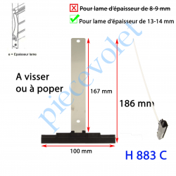 H883C Attache Tablier Noire Longueur 179 mm à Visser pour Lame 13-14 mm d'épaisseur