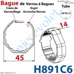 H891C6 Bague de Verrou Automatique à Bagues Zf pour tube Octo 40 diamètre Extérieur 45 mm Largeur 14 mm
