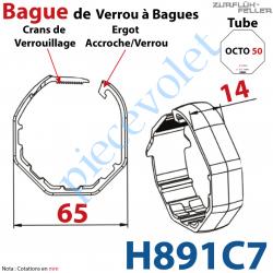 H891C7 Bague de Verrou Automatique à Bagues Zf pour tube Octo 52 diamètre Extérieur 65 mm Largeur 14 mm