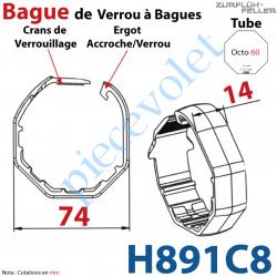 H891C8 Bague de Verrou Automatique à Bagues Zf pour tube Octo 60 diamètre Extérieur 74 mm Largeur 14 mm