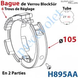 H895AA Bague en 2 Parties de Verrou Automatique Blocksûr pour tube ZF 80 ø Ext 105 mm Avec 1 Vis 4,2x12,7