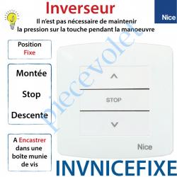 INVNICEFIXE Inverseur Nice Avec Cadre Montée-Stop-Descente à Encastrer à Position Fixe Blanc