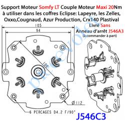 J546C3 Plaque Support Moteur Somfy LT Tête Etoile Sans Anneau d'Arrêt Couple Moteur Maxi 20 Nm