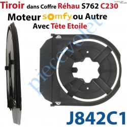 J842C1 Tiroir Seul pour Moteur Tubulaire Somfy ou Tête étoile pour Coffre Rehau S762 C230