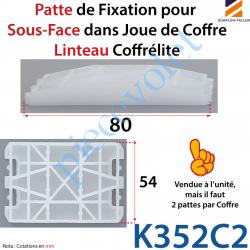 K352C2 Patte pour Fixer la Sous-Face dans Joue de Coffre Linteau Coffrélite en Polyamide Coloris Noir